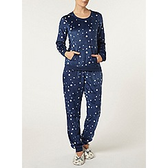 Dorothy Perkins - Navy fleece pyjama set
