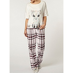 Dorothy Perkins - Wine check pyjama pants