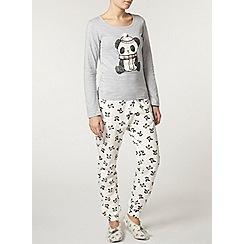Dorothy Perkins - Cream panda print pyjama pants