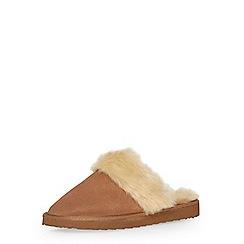 Dorothy Perkins - Tan suede leather mule slippers