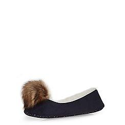 Dorothy Perkins - Navy pom pom ballerina slippers
