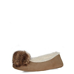 Dorothy Perkins - Tan pom pom ballerina slippers