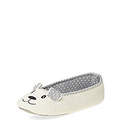 Dorothy Perkins - Cream bear ballerina slippers