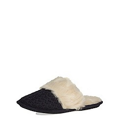 Dorothy Perkins - Navy knitted mule slippers