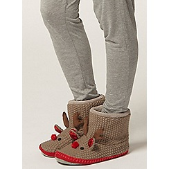 Dorothy Perkins - Stone knitted rudolph slippers