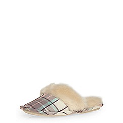 Dorothy Perkins - Pink check mule slippers