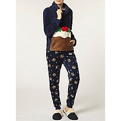 Dorothy Perkins - Navy christmas pudding pyjama set