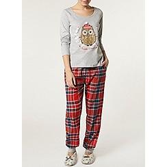 Dorothy Perkins - Grey christmas owl pyjama set
