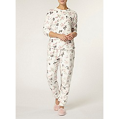 Dorothy Perkins - Cream floral super soft twosie