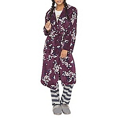 Dorothy Perkins - Wine floral hodded dressing gown