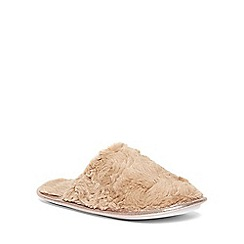 Dorothy Perkins - Mink plain faux fur slippers