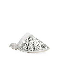 Dorothy Perkins - Grey knitted mule slippers