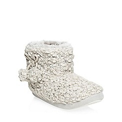 Dorothy Perkins - Grey popcorn wool boot slippers