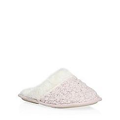 Dorothy Perkins - Pink popcorn wool mule slippers