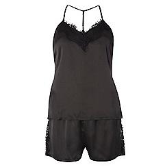Dorothy Perkins - V black lace cami set