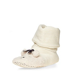 Dorothy Perkins - Cream bootie knitted slippers