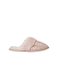 Dorothy Perkins - Pink cable knitted mule slippers