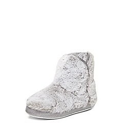 Dorothy Perkins - Grey faux fur slipper booties
