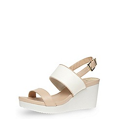 Dorothy Perkins - Nude and white strap wedges