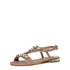 Dorothy Perkins - Nude mule gem wedge sandals