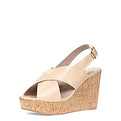 Dorothy Perkins - Nude wide cross over wedges