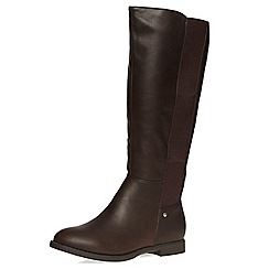 Dorothy Perkins - Wide fit chocolate 'wood' boots
