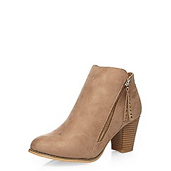 Dorothy Perkins - Wide fit taupe 'weave' boots