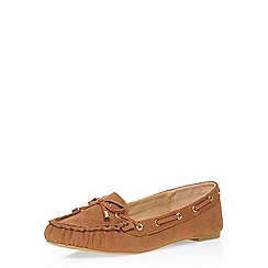 Dorothy Perkins - Wide fit tan 'walty' moccasins