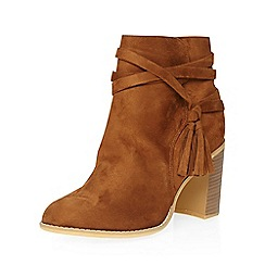 Dorothy Perkins - Wide fit tan wasp tassel boots