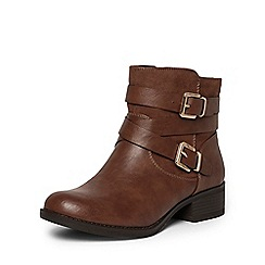 Dorothy Perkins - Tan 'wagon' wide fit biker boots