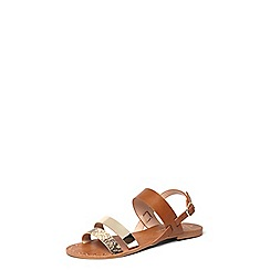 Dorothy Perkins - Tan wide fit Frankie sandals