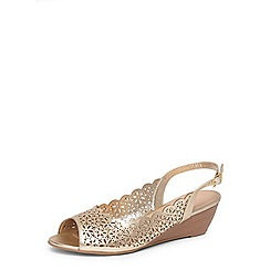 Dorothy Perkins - Gold Rosa wide fit wedges