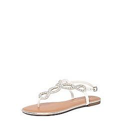 Dorothy Perkins - Widefit white fiesta sandals