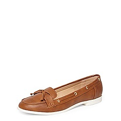 Dorothy Perkins - Wide fit tan lowe boat shoes
