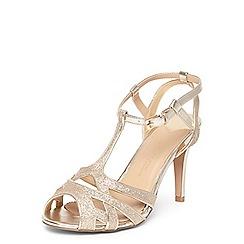 Dorothy Perkins - Wide fit gold 'Starstruck' heeled sandals
