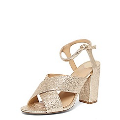 Womens wide fit gold sandals