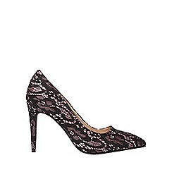 Dorothy Perkins - Wide fit black lace 'Emily' pointed court shoes