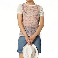 Dorothy Perkins - Blush tile woven front knitted t-shirt