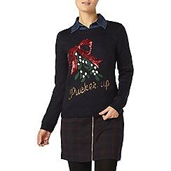 Dorothy Perkins - Navy sequin pucker up jumper