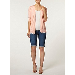 Dorothy Perkins - Coral lace hem edge to edge cardigan