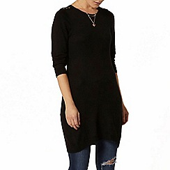 Dorothy Perkins - Black button shoulder knitted tunic