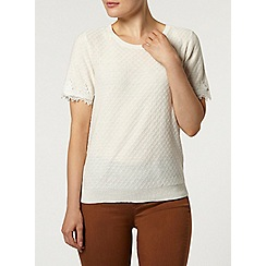 Dorothy Perkins - Ivory lace sleeve knitted t-shirt