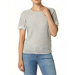 Dorothy Perkins - Grey lace sleeve knitted t-shirt