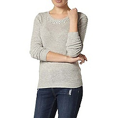 Dorothy Perkins - Grey embellished neck jumper