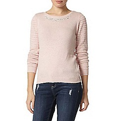 Dorothy Perkins - Blush embellished neck jumper