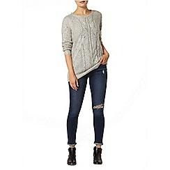 Dorothy Perkins - Grey sparkle longline cable jumper