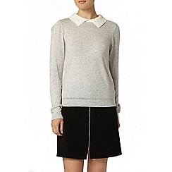 Dorothy Perkins - Grey embroidered collar jumper