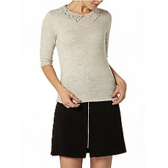 Dorothy Perkins - Grey embellished collar jumper