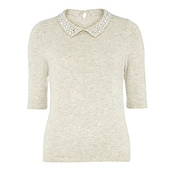 Dorothy Perkins - Tall grey embellished collar jumper