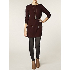 Dorothy Perkins - Tall mulberry zip rib tunic